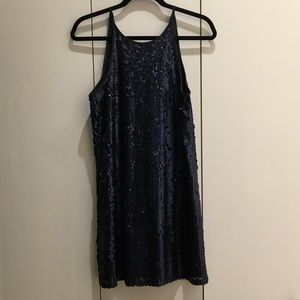Forever 21 Navy Blue Swing Sequin Party Dress Sz M